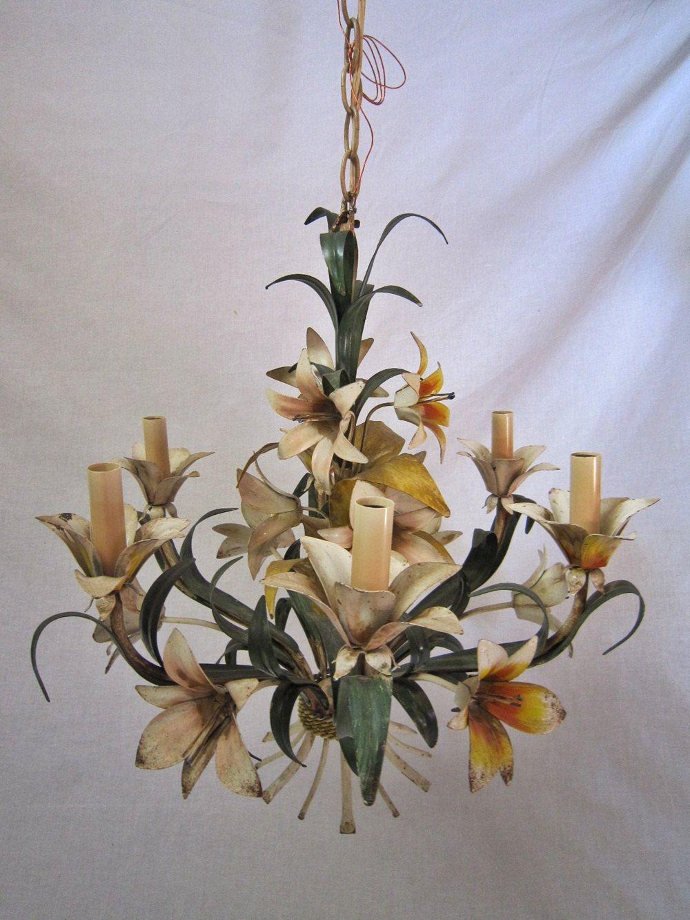 Italian Tole Flower Chandelier Flower Chandelier