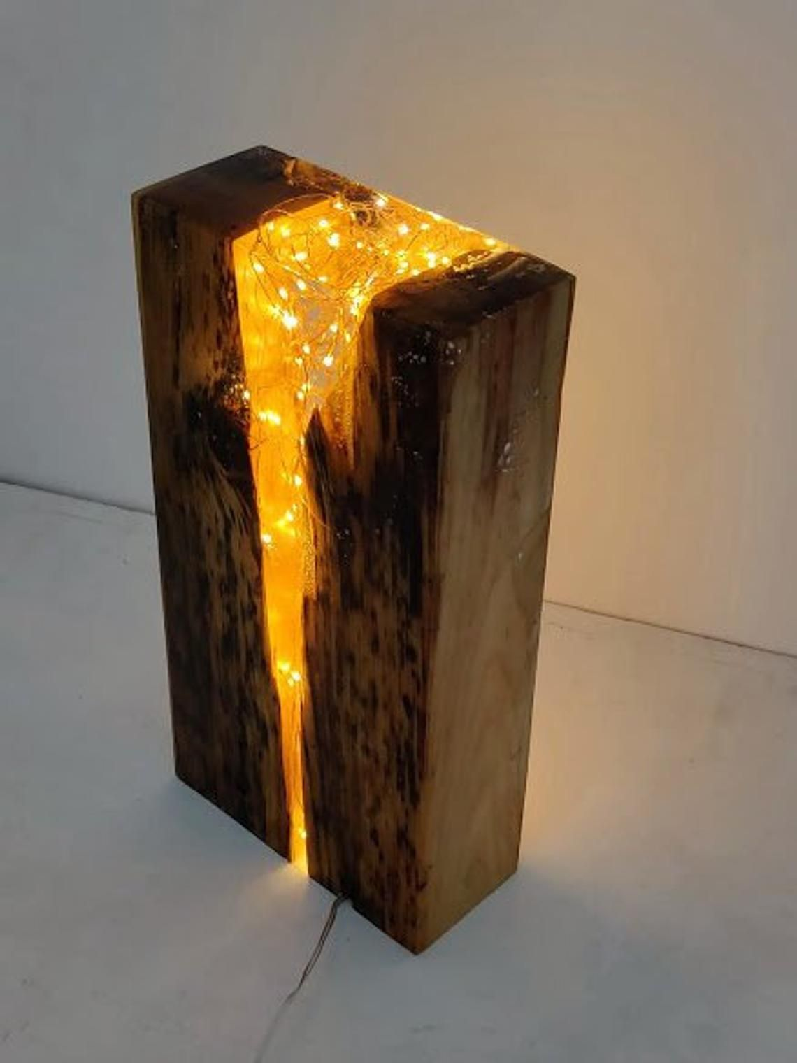 Reclaimed Antique Pine Wood And Resin Light Block Sculpture