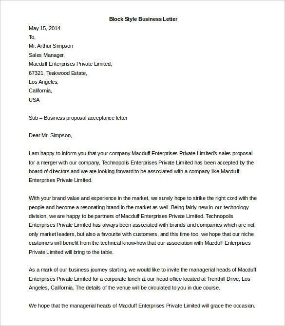 business letter template free word pdf documents definition block - business letter sample word