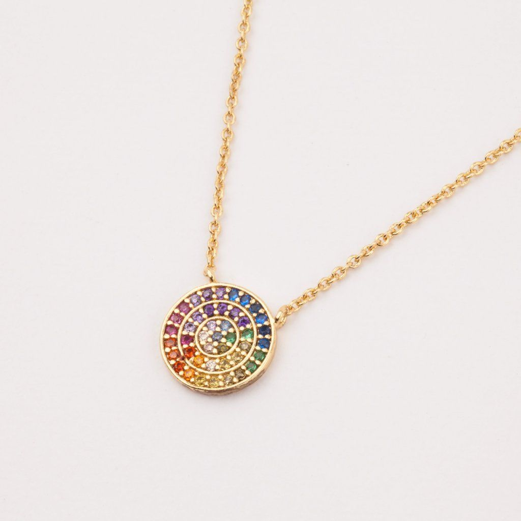 Rainbow small circle necklace in shopping list pinterest