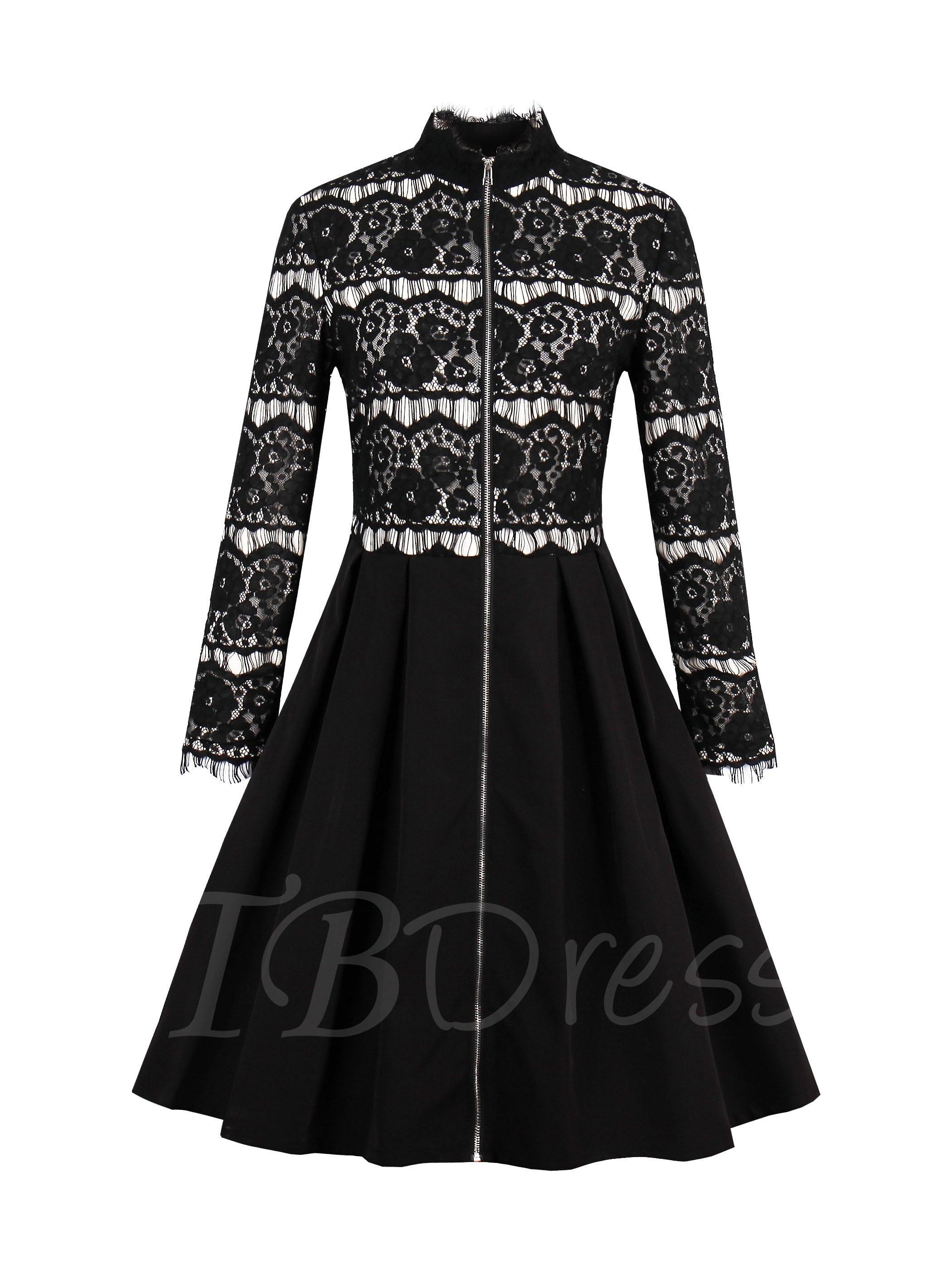 Tbdress tbdress lace patchwork black womens long sleeve dress