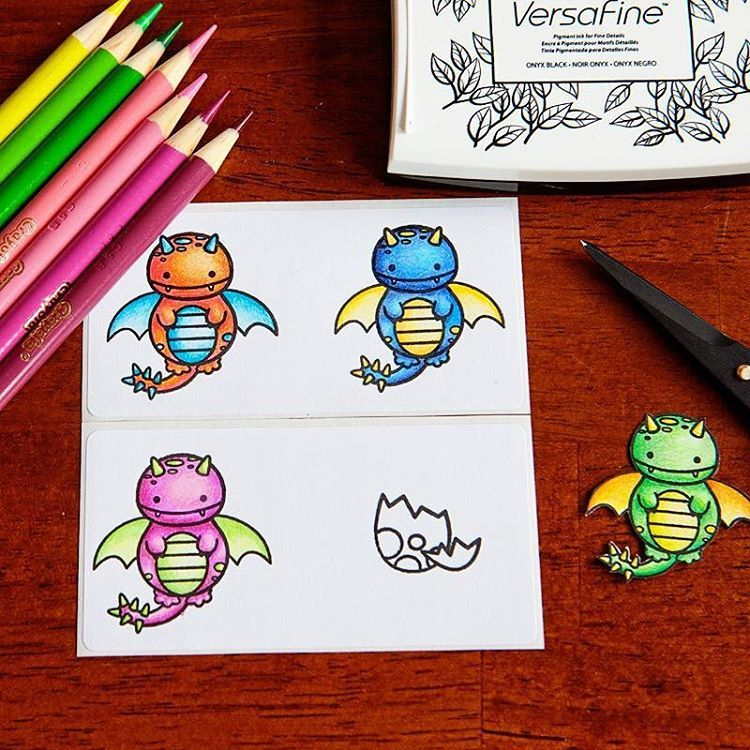 Stickers by designer meredith ensell using the sweet stamp shop dragon stamp set sssdragon