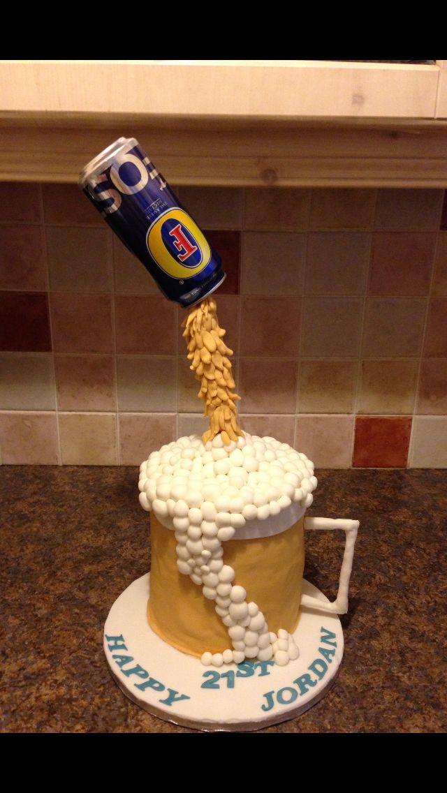 Floating Beer Can Fosters Cake In 2019 Birthday Cake