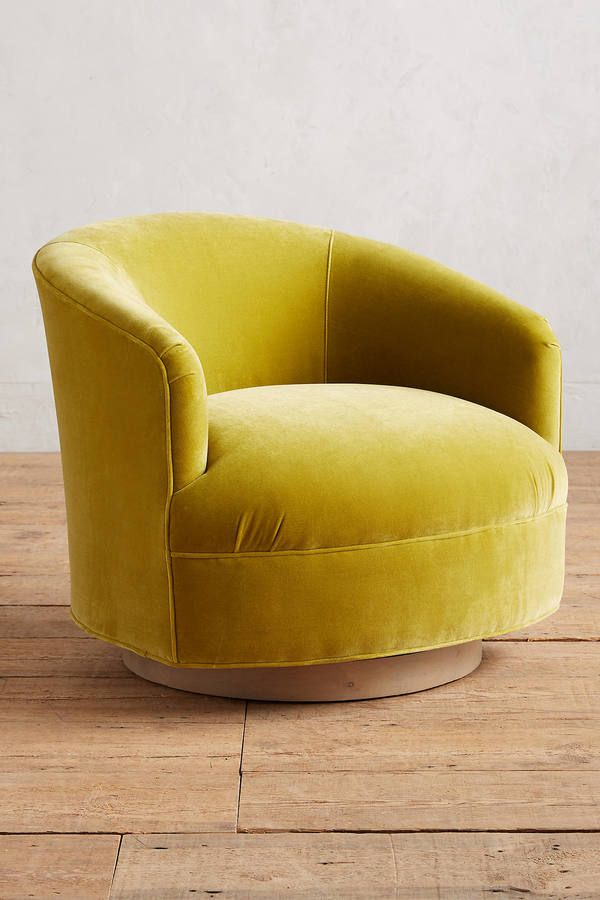 Elegant Anthropologie Velvet Amoret Swivel Chair