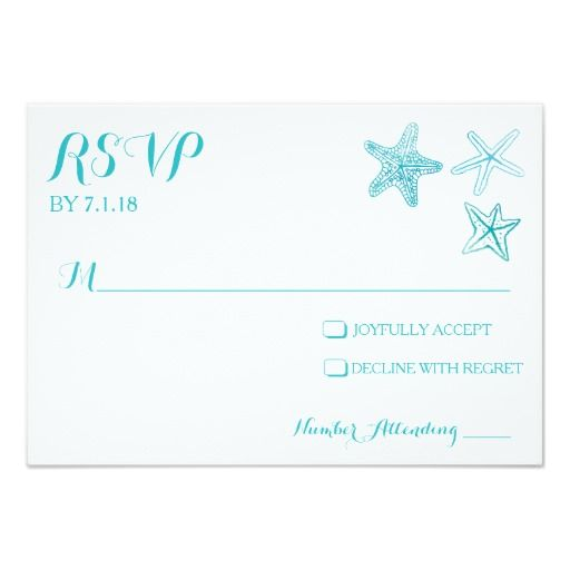 Getting married on the beach, near the ocean or on the seaside? These watercolor invitations featuring an array of starfishes are the perfect way to invite your guests! Beautiful aqua blues and sea greens blend in a watercolor background to resemble the ocean. Customize the front and back with the names of the couple, and more! Visit my store for coordinating items including response/RSVP cards and more! Design ©2014 WeddingsnWhimsy