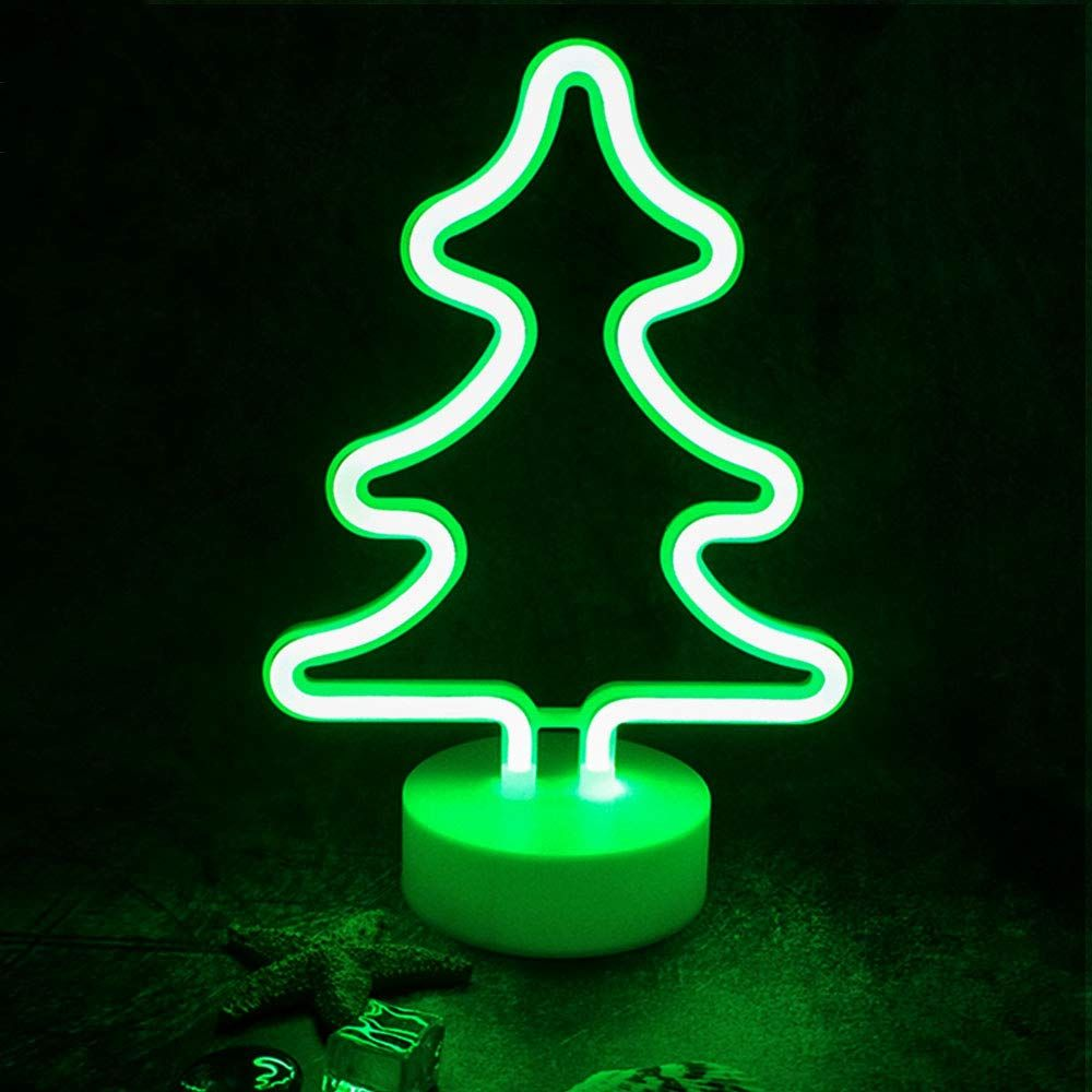 Starrymine Xmas Tree Neon Light Signsgreen Led Neon Art Decorative With Holder Basetable Light Marquee Signs Wall Decor Neon Light Signs Green Led Party Lights