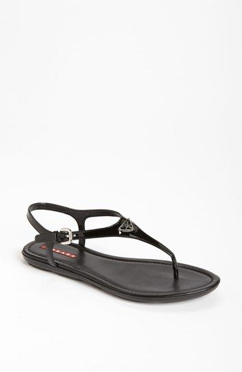 fbb22e2c4 Prada Patent Leather Logo Strap Thong Sandal available at  Nordstrom ...