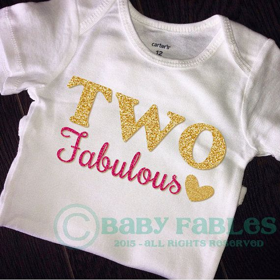2nd Birthday Shirt Bodysuit Gold Glitter TWO Second By Babyfables