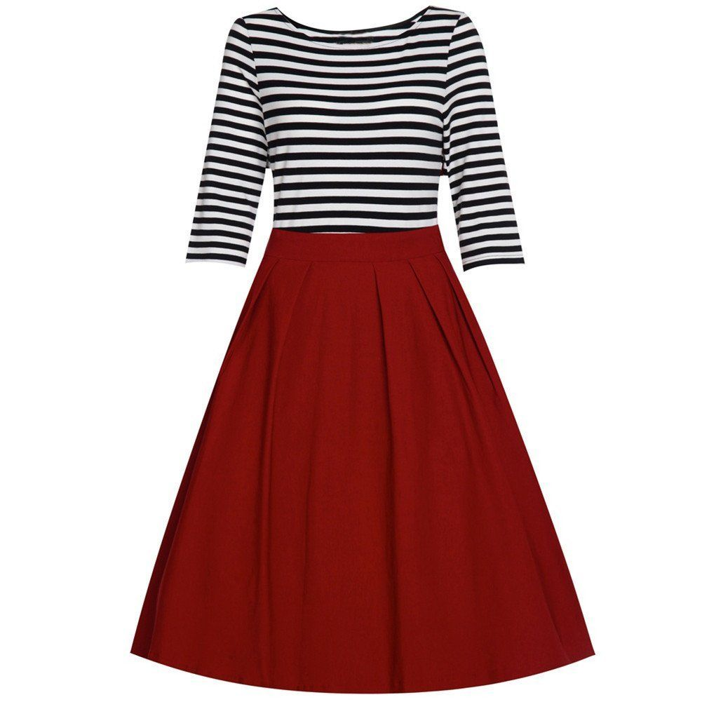 Eudolah Damen Sommerkleid Vintage Kleid Rockabilly Cocktailkleid ...