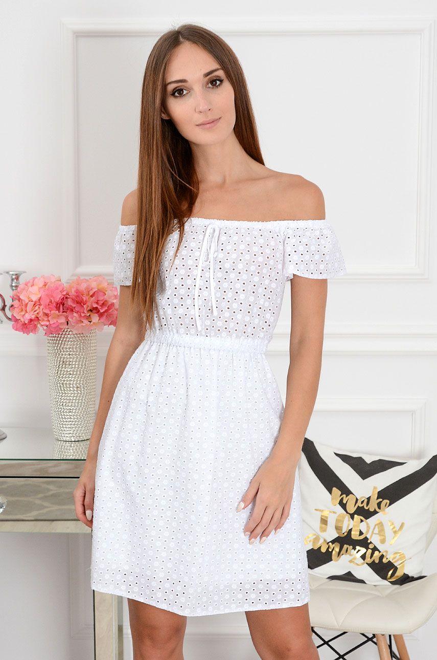 515dde2ef7 Sukienka hiszpanka haftowana Lavazza biała