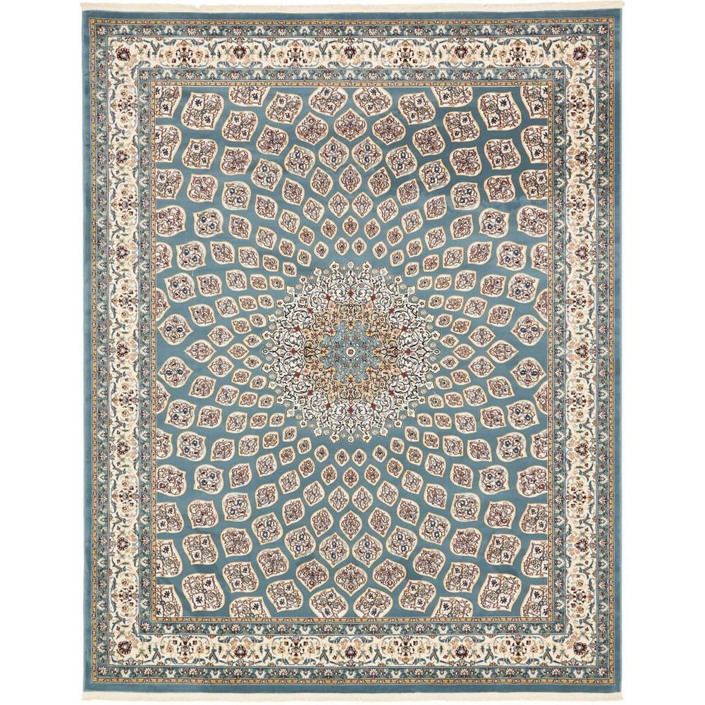 Unique Loom Narenj Nottingham Blue 8 0 X 10 0 Area Rug Area Rugs Floral Area Rugs Rugs