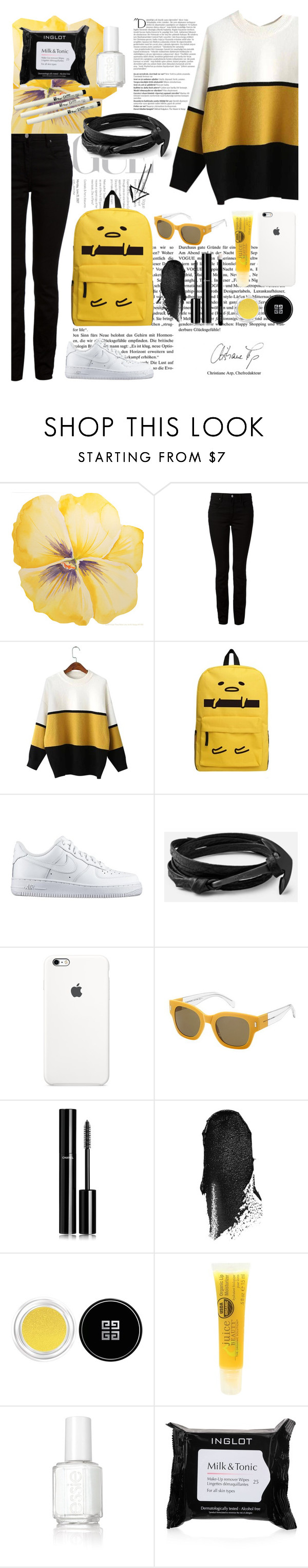 """""""Black&yellow&white"""" by bubblegumrain ❤ liked on Polyvore featuring Balmain, Alexander Wang, NIKE, Marc by Marc Jacobs, Chanel, Bobbi Brown Cosmetics, Givenchy, Juice Beauty, Essie and Inglot"""