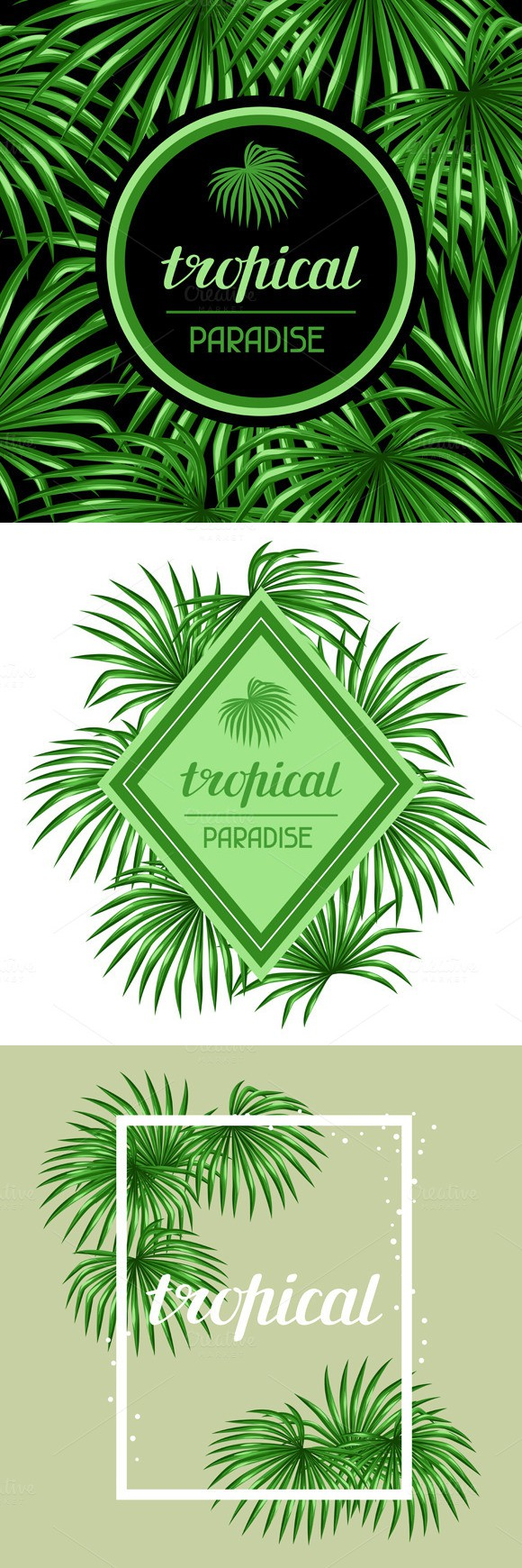 Cards with palms leaves.. Creative Card Templates. $9.00