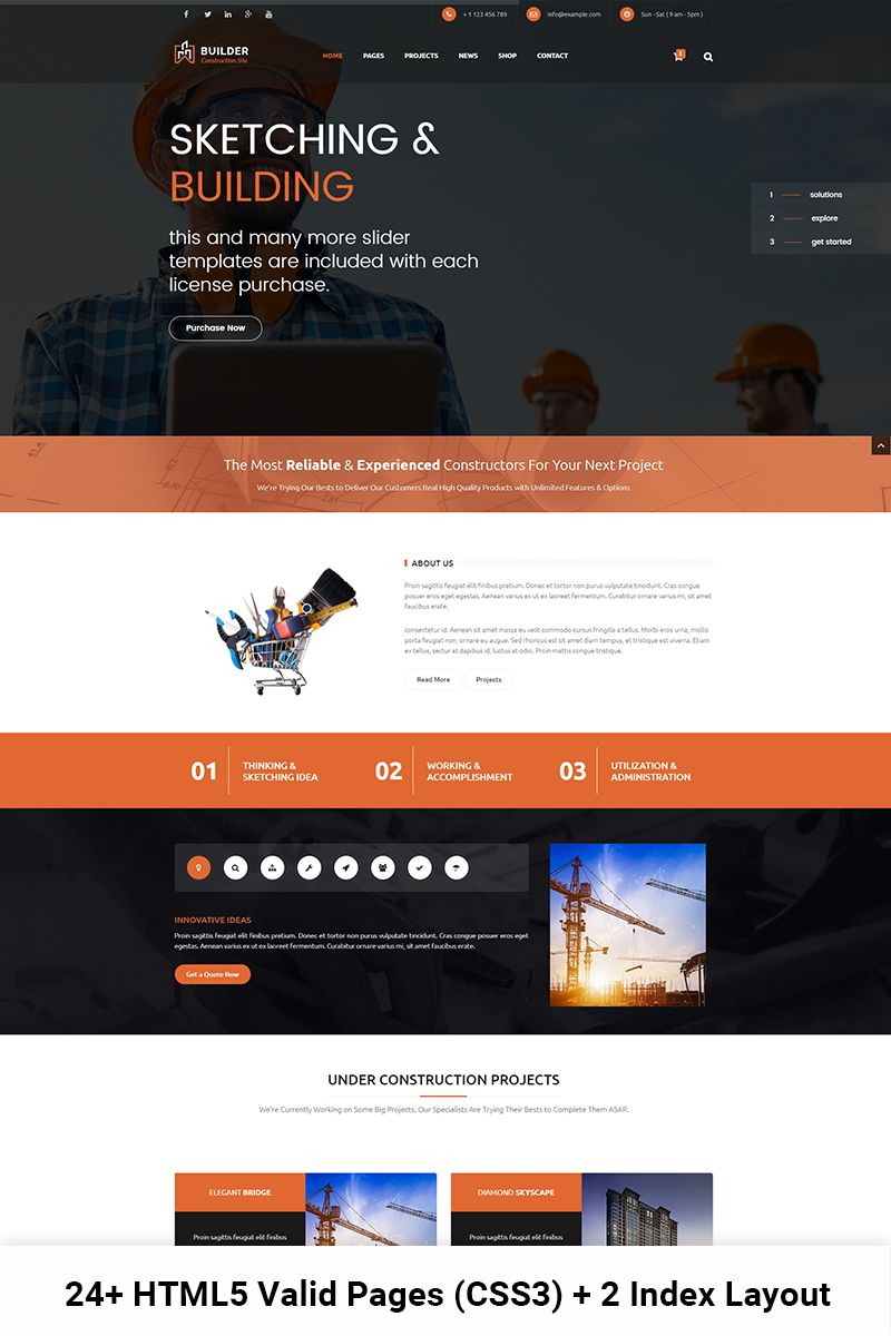 Bootstrap Website Templates Builder  Construction And Building Html Website Template