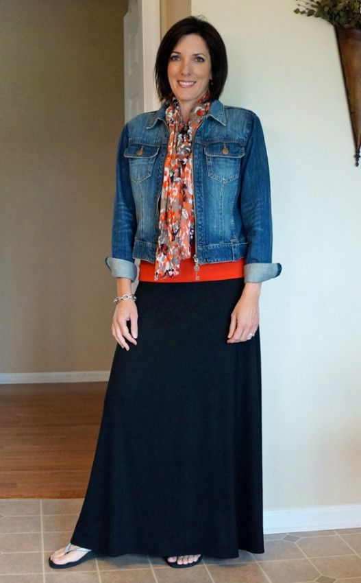 Red and black maxi dress with denim vest