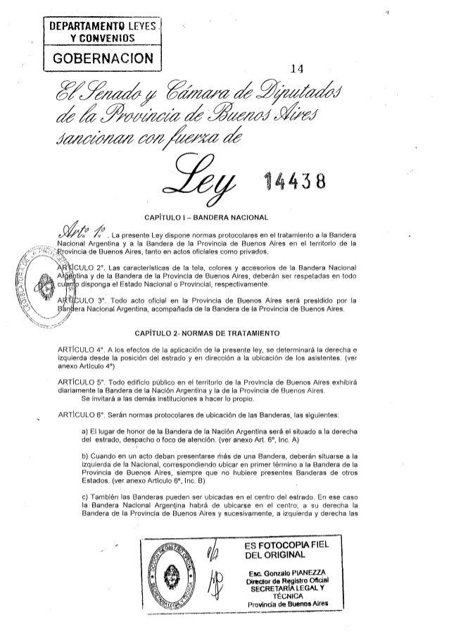 Ley 14438/13 Normas protocolares Bandera Nacional Argentina y Bandera Provincia Bs.As.
