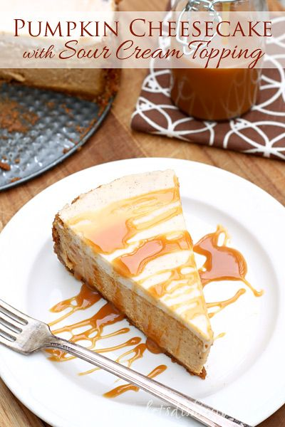 Pumpkin Cheesecake With Sour Cream Topping Let S Dish Recipes Sour Cream Cheesecake Sour Cream Cheesecake Topping Pumpkin Cheesecake Recipes