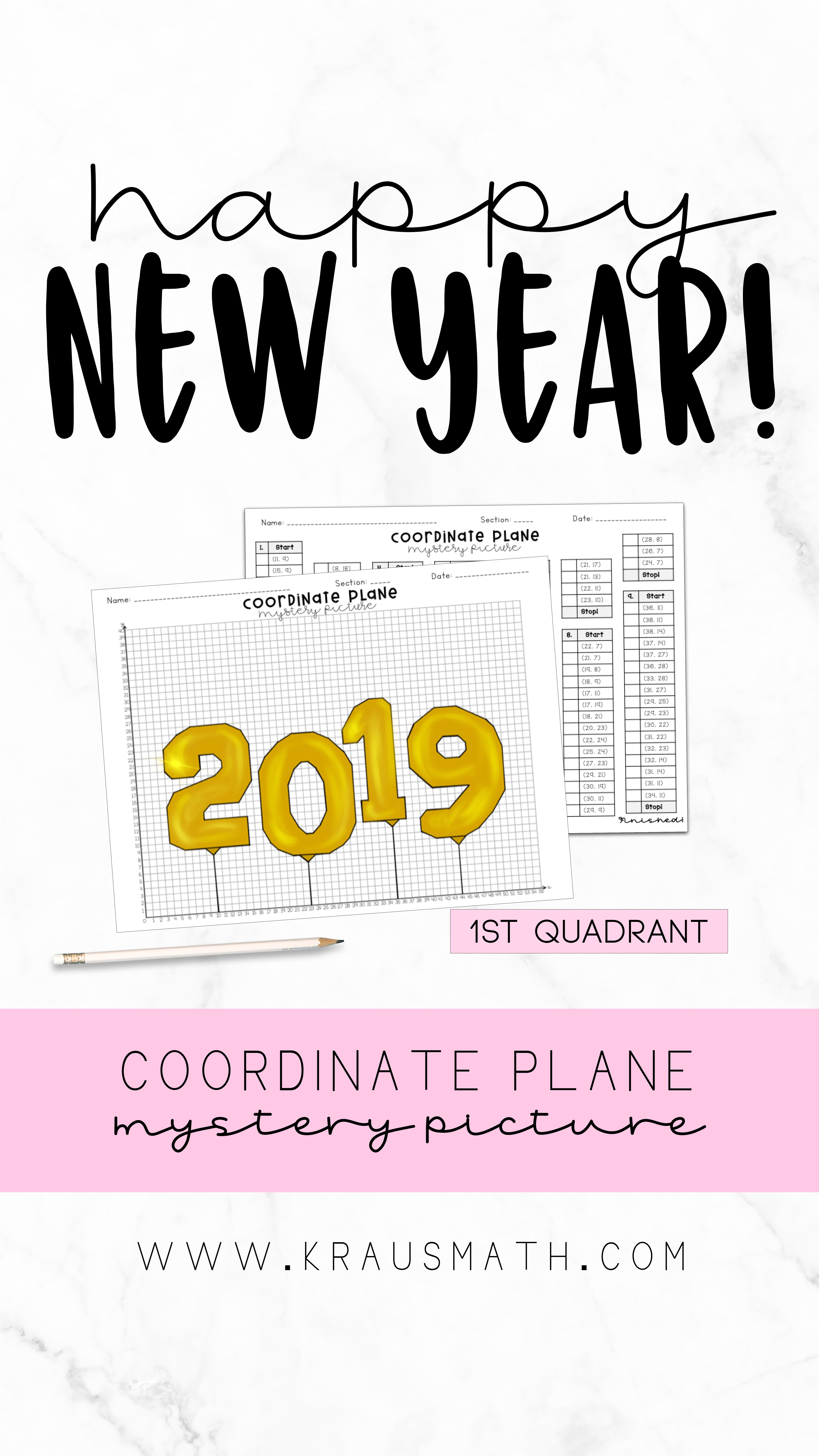 New Years Balloons Coordinate Plane Activity 1st