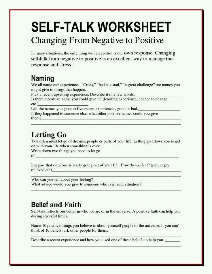 Positive Self Talk Therapy Worksheets Anger Worksheets Therapy Counseling