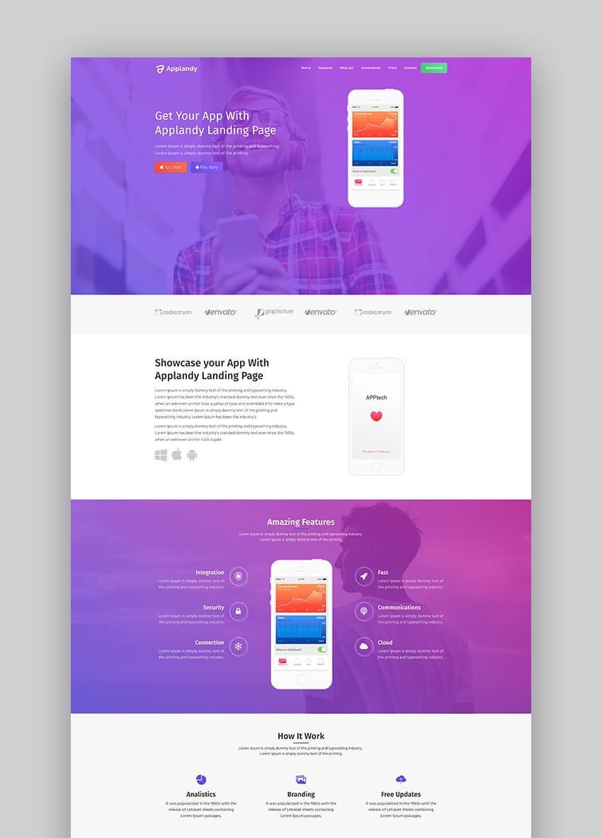 23 Best Mobile App Landing Page Template Designs 2021 In 2021 App Landing Page Landing Page Website Inspiration Mobile app landing page template