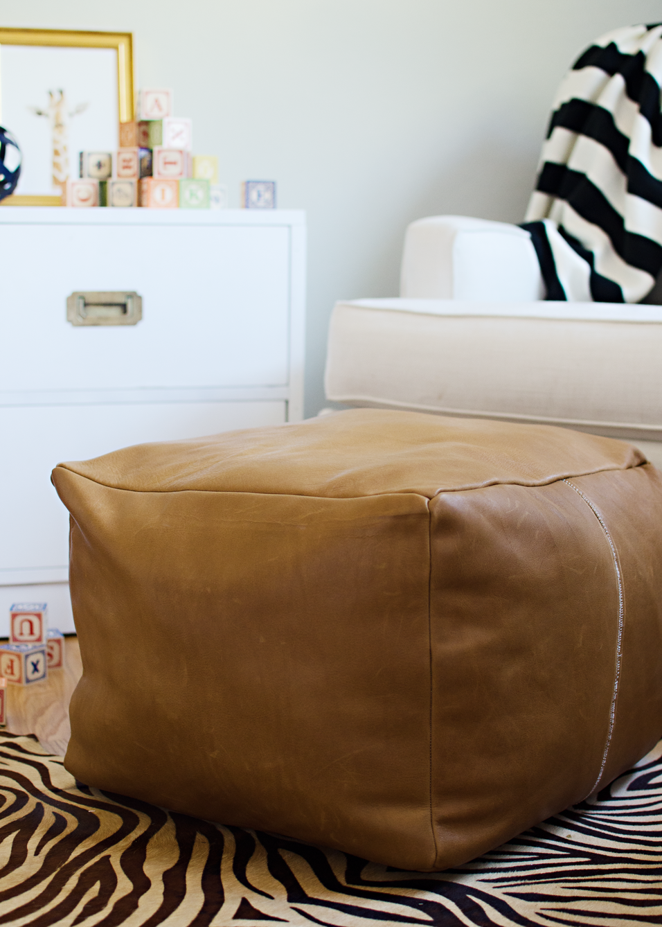 DIY Leather Pouf & Giveaway with the Leather Hide Store | Costura