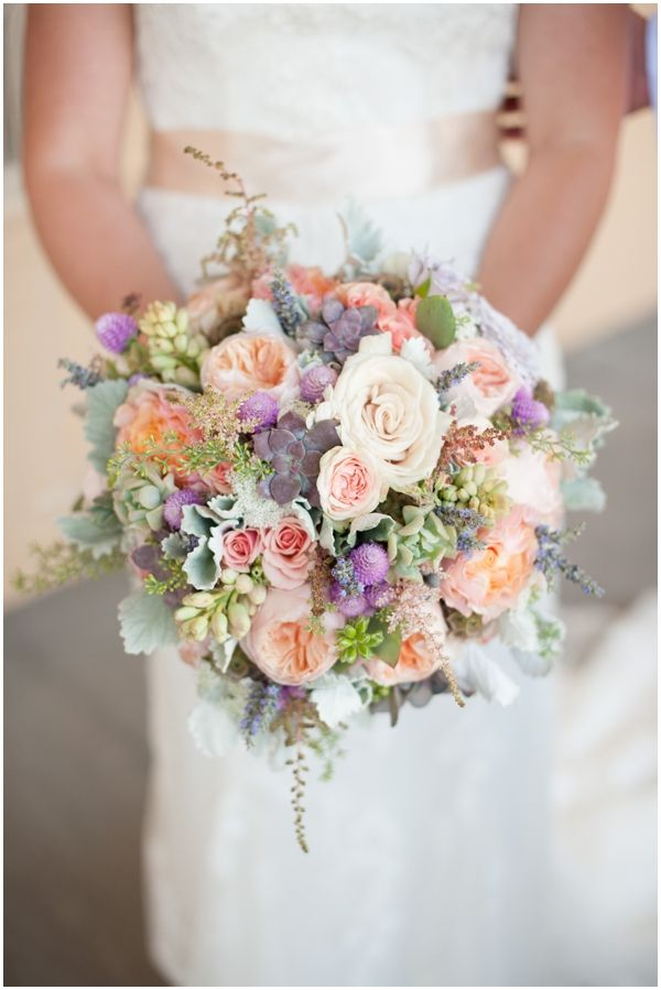 Peach, Cream, Lavender and Succulent Wedding Bouquet // Two Buds ...
