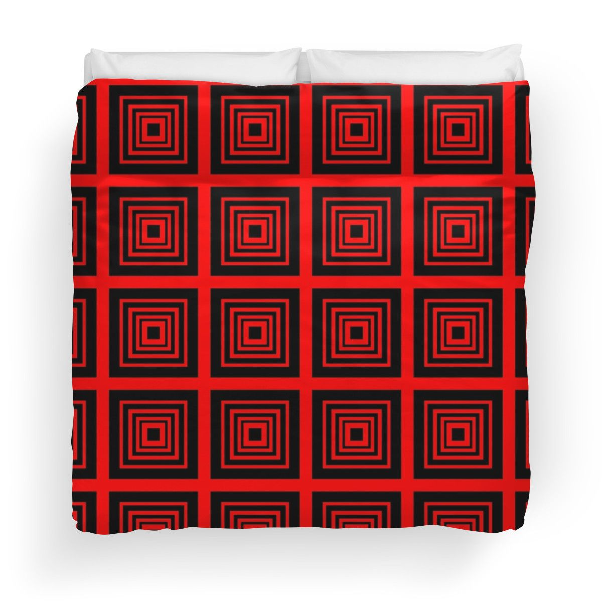 Square Retro Pattern Design Red and Black