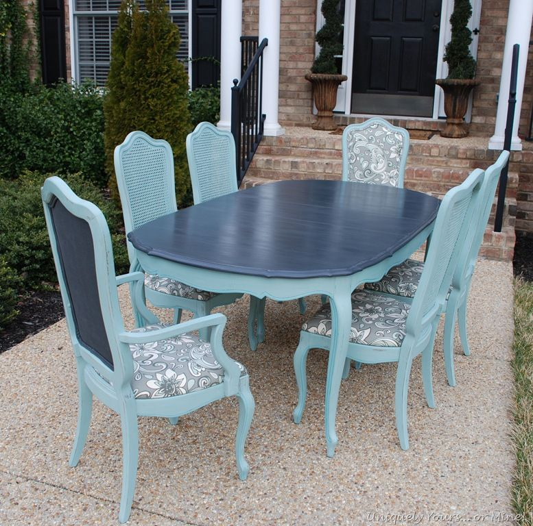 Painted Vintage French Thomasville Dining Table Sillas De