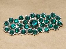 Vintage Art Nouveau Silver Tone & Green Rhinestone Flower Bar Style Pin Brooch
