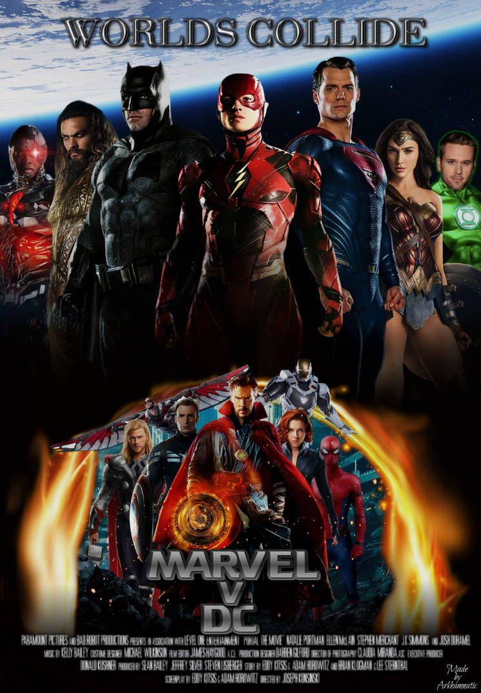 marvel v dc movie poster by arkhamnatic