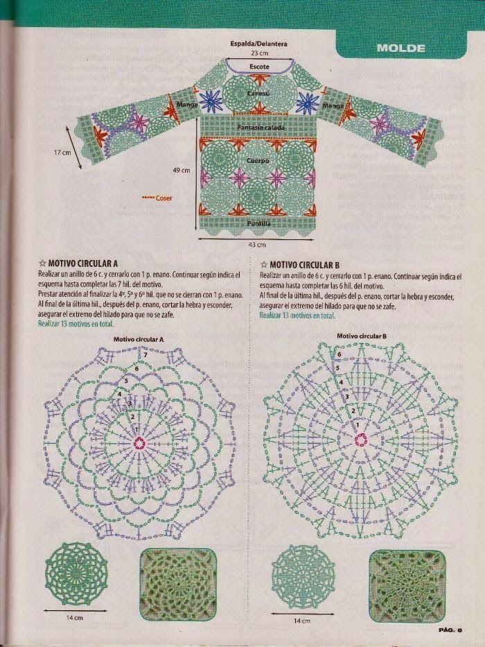 Patrón #447: Blusa de círculos a Crochet o Ganchillo | CTejidas ...