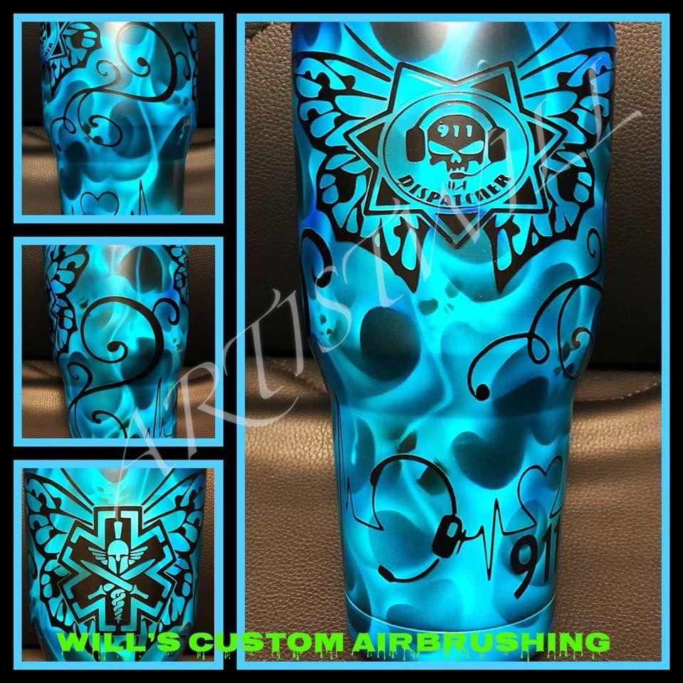 Custom painted tumblers custom airbrushing custom paint