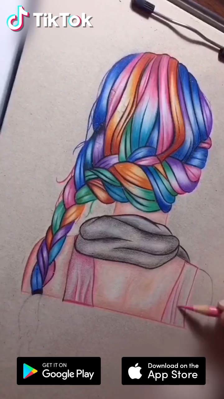 Colorful Hair Download Tiktok To Find More Funny Ideas Life S Moving Fast So Make Every Second Count Drawing Video How To Draw Hair Color Pencil Art Drawings
