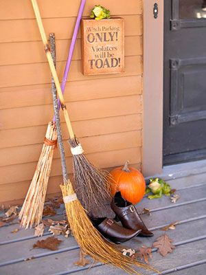 Since you may not have old brooms hanging around, you could use tree branches for the base and twigs, corn stalk or tall swamp grasses for the brush.