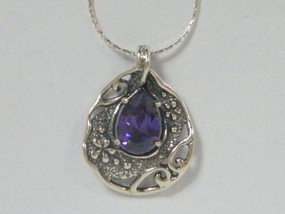 SHABLOOL ISRAEL Didae Amethyst CZ 925 Sterling Silver Drop Necklace