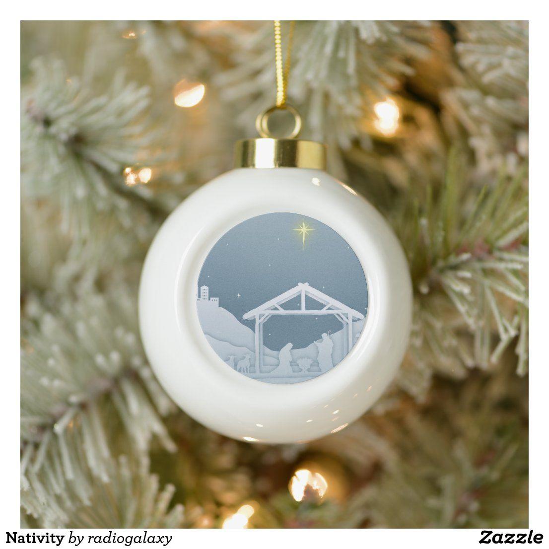 Nativity Ceramic Ball Christmas Ornament Zazzle Com In 2020 Christmas Ornaments Custom Ornament Custom Christmas Ornaments