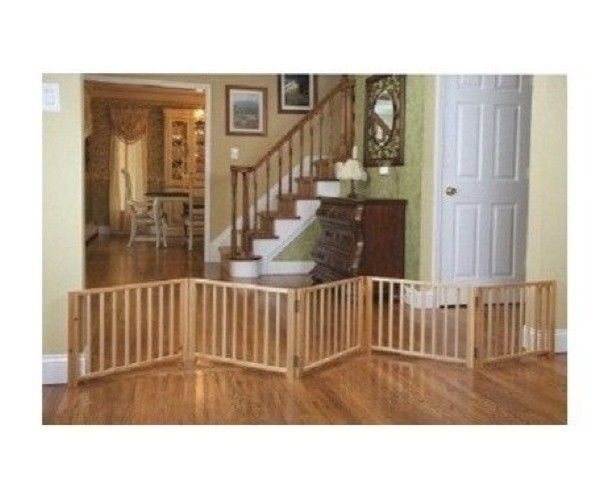 Indoor Pet Fence Free Standing Walk Over Panel Wood Folding Gate ...