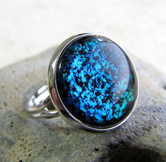 Aqua Sparkle Ring by AshleySpatula, $12.50