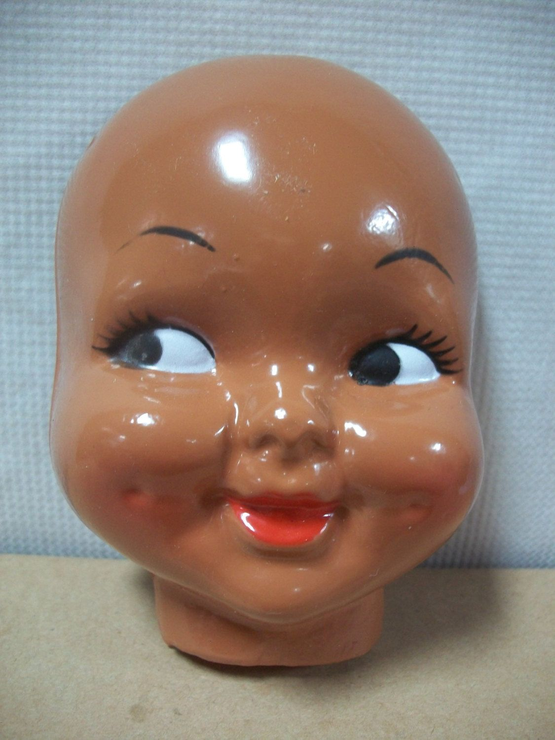 Plastic Pretty Girl Faces with Dimples set of 2