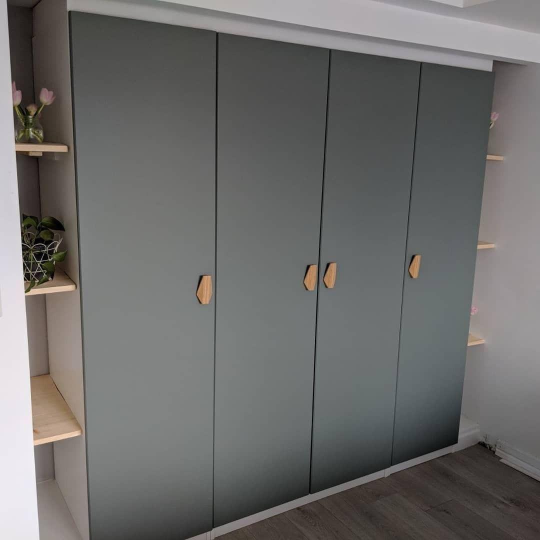 Built In Pax Wardrobe Reinsvoll Grey Green Door In 2020 Pax