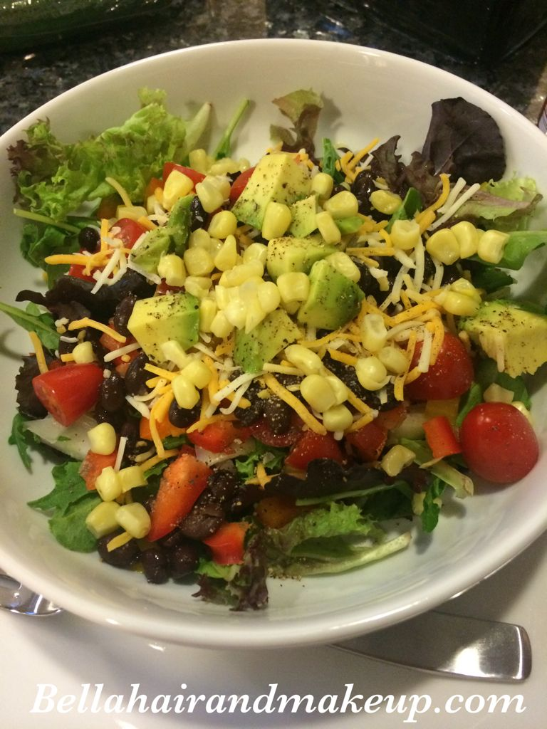 Whitney Renee' Anderson*** dinner salad: spring mix, peppers, onions, avocado, black beans, corn, tomatoes, cottage cheese, sriracha