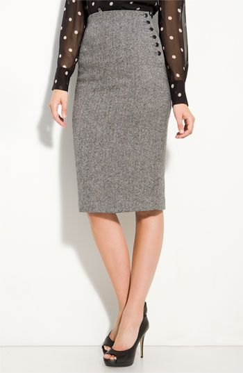 00731c43f Skirt for flat pattern/ high waisted pencil skirt.. side buttons detail..  with bright pumps.. cuuuute