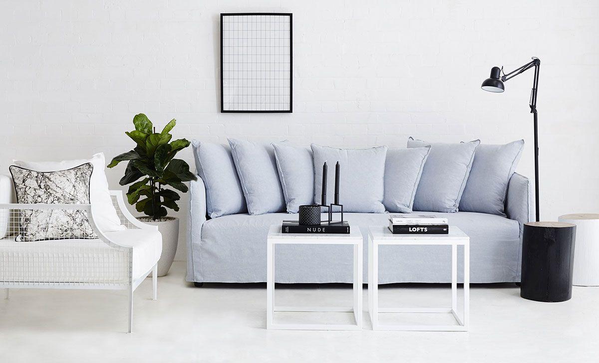 Terrific Modern Designer Slipcover Sofa Light Blue Italian Linen Andrewgaddart Wooden Chair Designs For Living Room Andrewgaddartcom