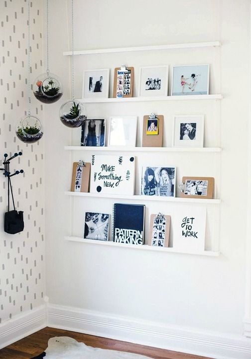 17 Totally Untraditional Unique Ways To Hang Pictures On Your Wall Hanging Rope Shelves Decor Home Diy