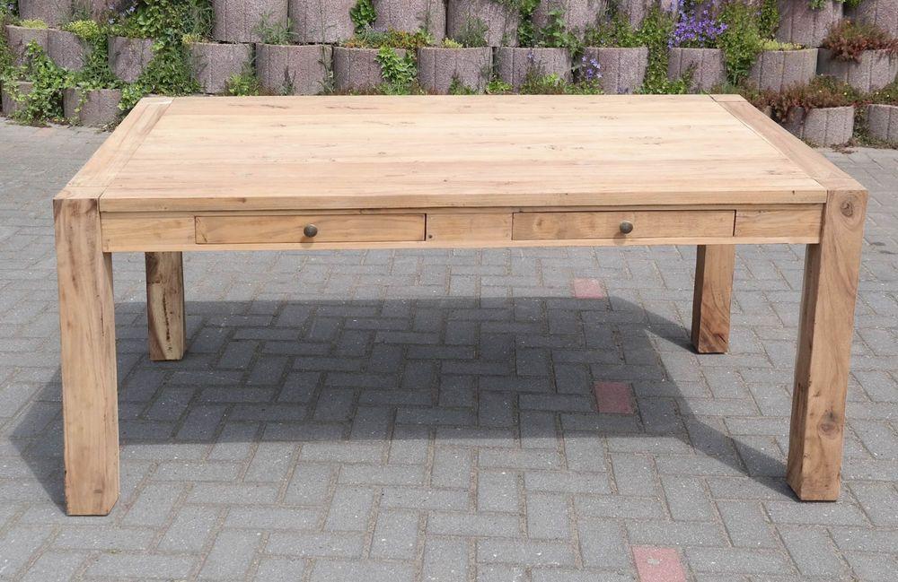 Tisch Esstisch TEAK Massiv Modern 140x81 Neu Blockbeine Esszimmer Wohnzimmer