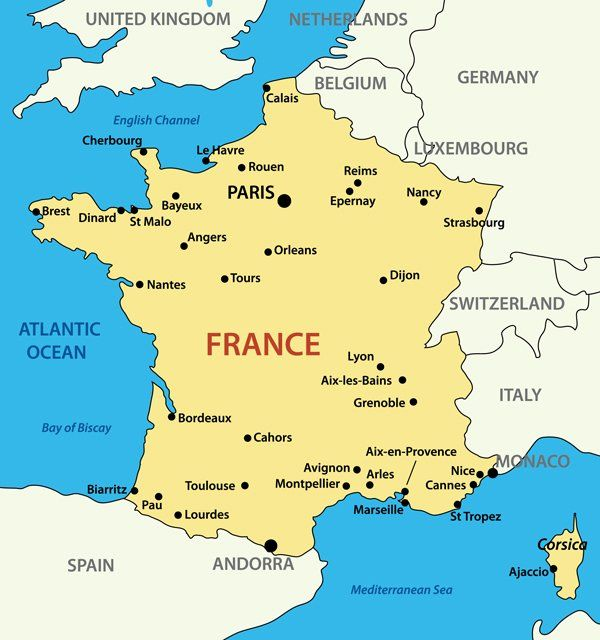 France Facts For Kids Facts About France And The French Online - France geographical map