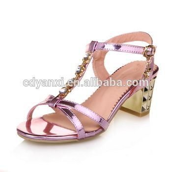 f6e3908be Fashion Ladies Women Chunky Heel Summer Party Wear Fancy Leather Sandals  New Design Sandal Shoes