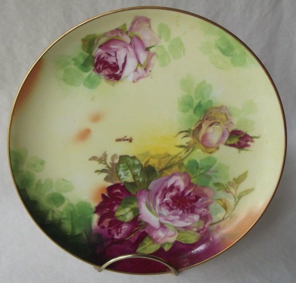 Antique 1910 limoges coronet / m de m handpainted roses plate ...