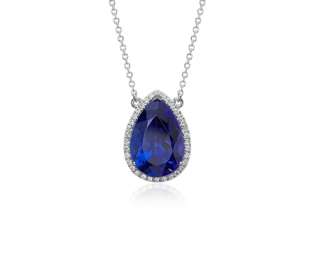 Pear shape tanzanite and diamond halo floating pendant in 18k white pear shape tanzanite and diamond halo floating pendant in 18k white gold 909 ct center mozeypictures Gallery
