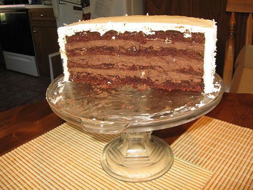 Chocolate Black Out Wedding Cake With Coconut Buttercream By Bobby Flay I Yummy Food Dessert Chocolate Chip Cookie Dough Butterscotch Pudding Cake Recipe